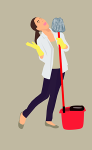 Home Cleaning Tips Tricks and Routines. Lady with broom mop and bucket to clean