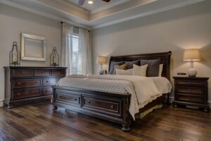 Home Cleaning Tips Tricks and Routines. Bedroom with wooden floors