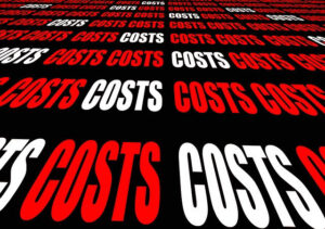 5 Steps How To Manage Your Money. A reminder to illustrate the raising of the cost. Image of the word COST written in red and white many times