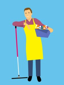 Home Cleaning Tips Tricks and Routines. partner with washing and sweeper helping with cleaning
