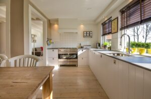 Home Cleaning Tips Tricks and Routines. Clean shelves and floor in a tidy kitchen.