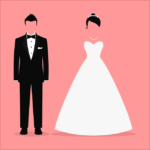 The Secret Language of Relationships. Animation of a Wedding couple standing apart.