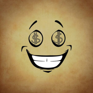 The Debt Trap Solved., a smiley face with dollar sign eyes, the love of money..