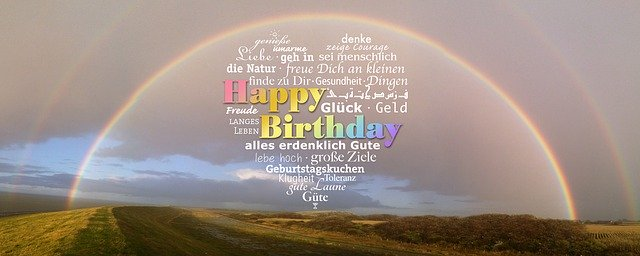 Happy-Birthday-Rainbow-with a heart of well wishes written in the bow of the rainbow