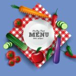 Meal Planner Grocery List. Menu planning. Serviette-with-small-plate-and-different-veggies-around-it-healthy-menu