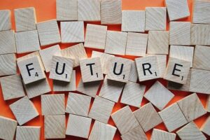 Only an illustration. Wooden-blocks-spell-the-word-FUTURE-