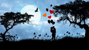 What is a Toxic Relationship set one romantic night apart, Image of a couple kissing in the moonlight