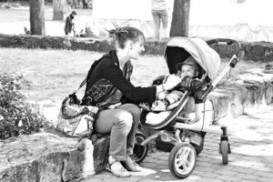 What is a Toxic Relationship, never has time for you, Mother preoccupied with baby in a stroller