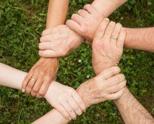 How to of Emotional Intelligence, Team members holding hands in a chain. holding hands