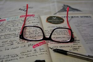 Emotional Intelligence for Good Leadership A diary with glasses and a pen for events and behaviour