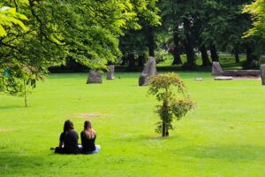 How to Argue or Disagree with Dignity. Couple sitting in deep discussion in the park.